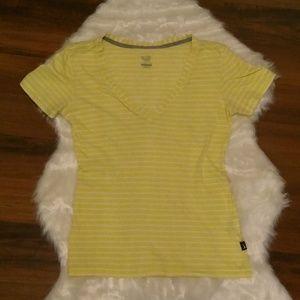 Nike v-neck striped white yellow t-shirt medium